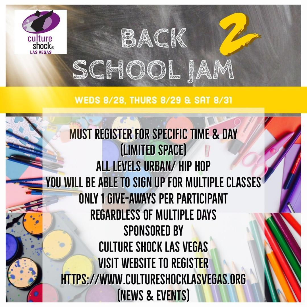 Back to School Jam Weds. 8/28, Thurs 8/29 & Sat. 8/31