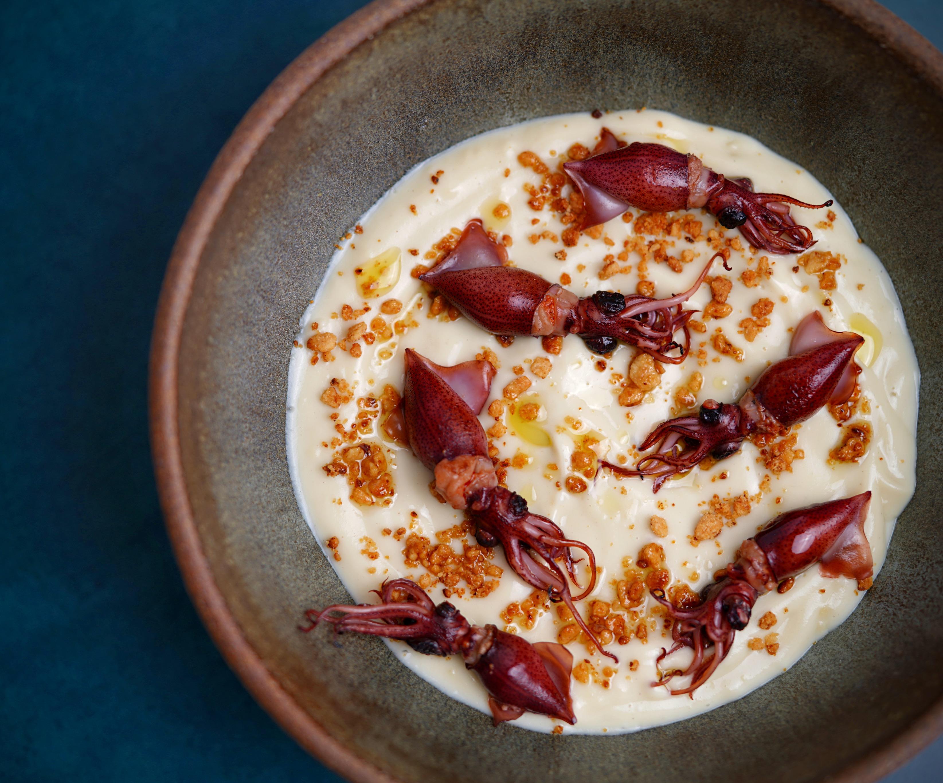 Cauliflower/Sweet Potatos Soup and Firefly Squids