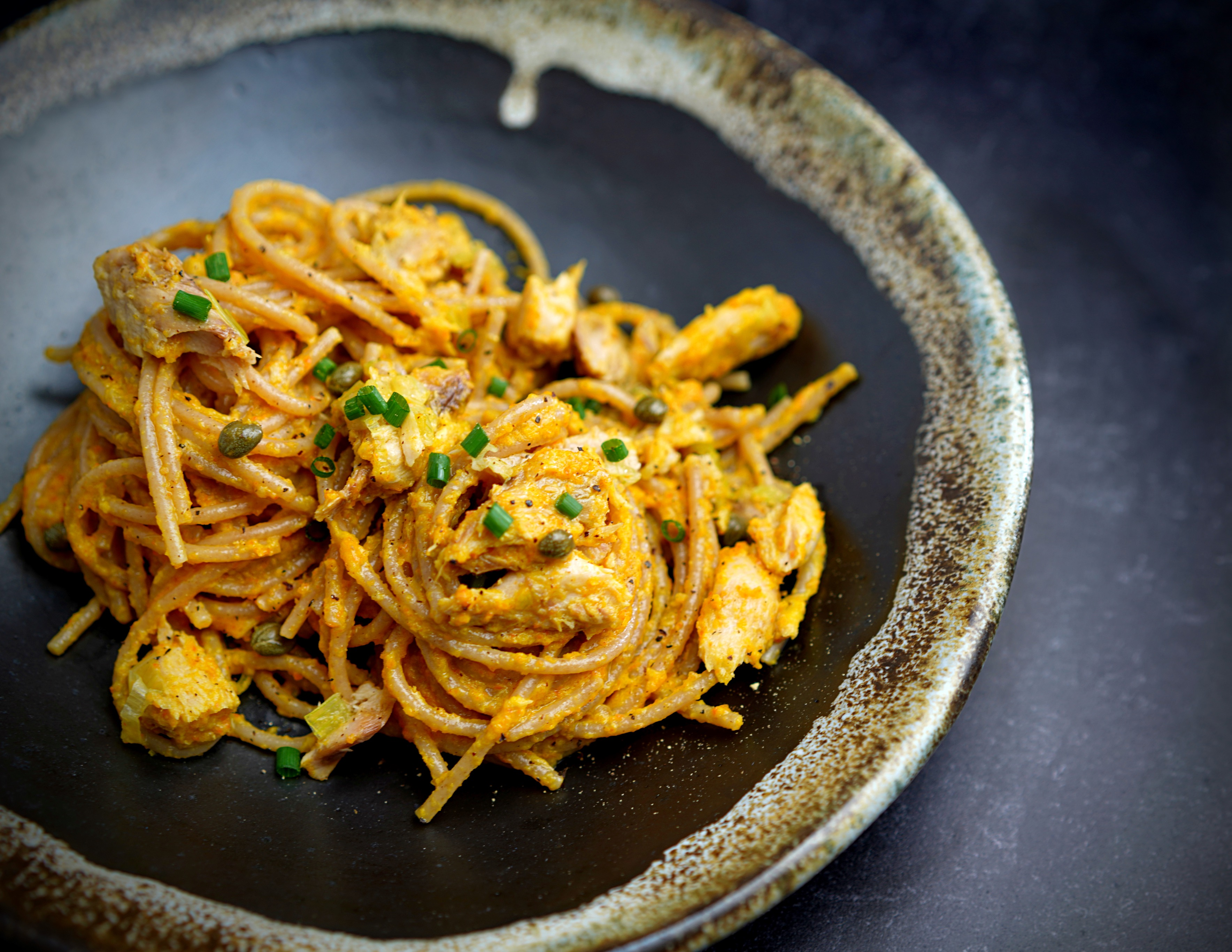 Wholewheat Spaghetti with Carrot Sauce and Mackerel