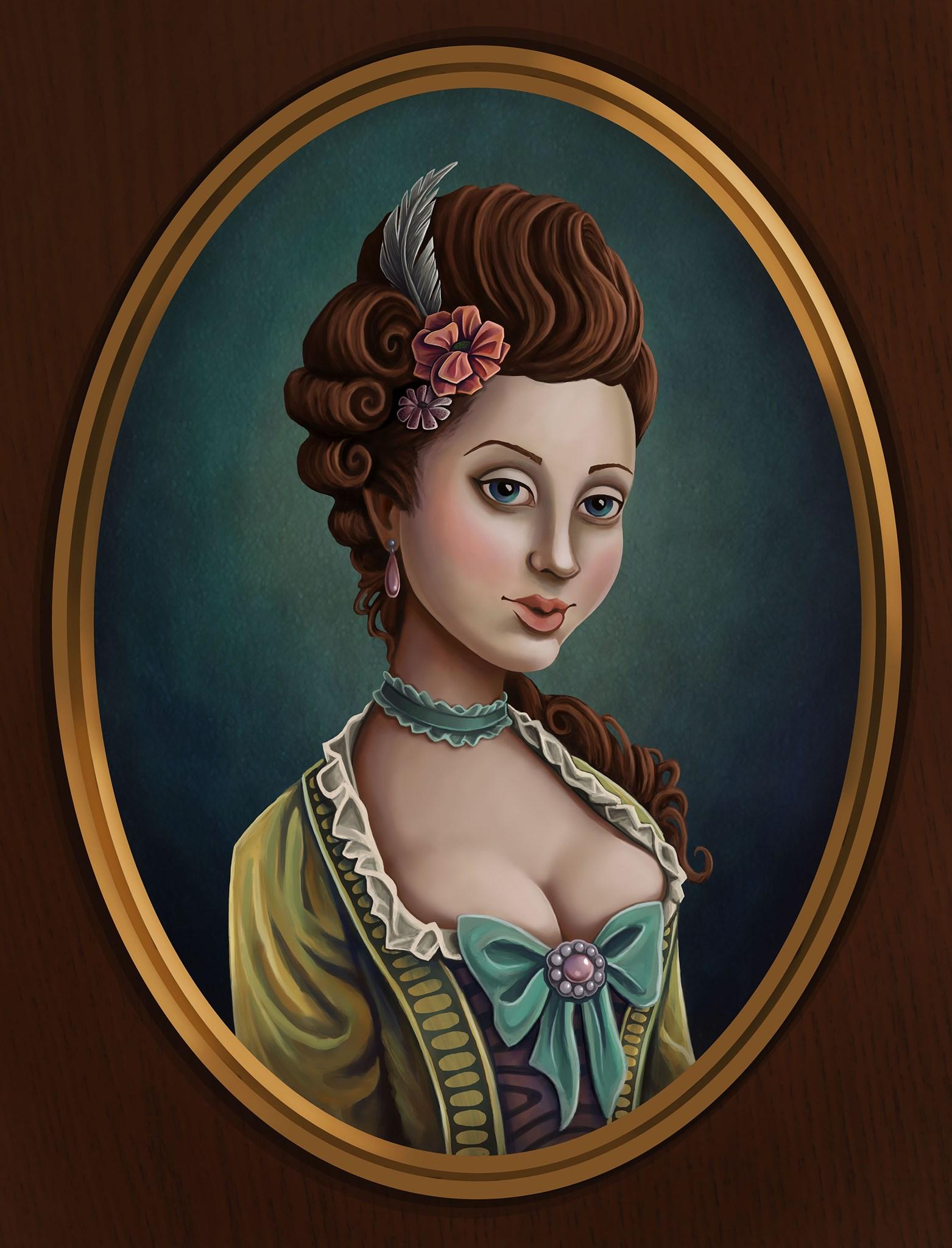 17th Century cameo portrait historical fashion Illustration.