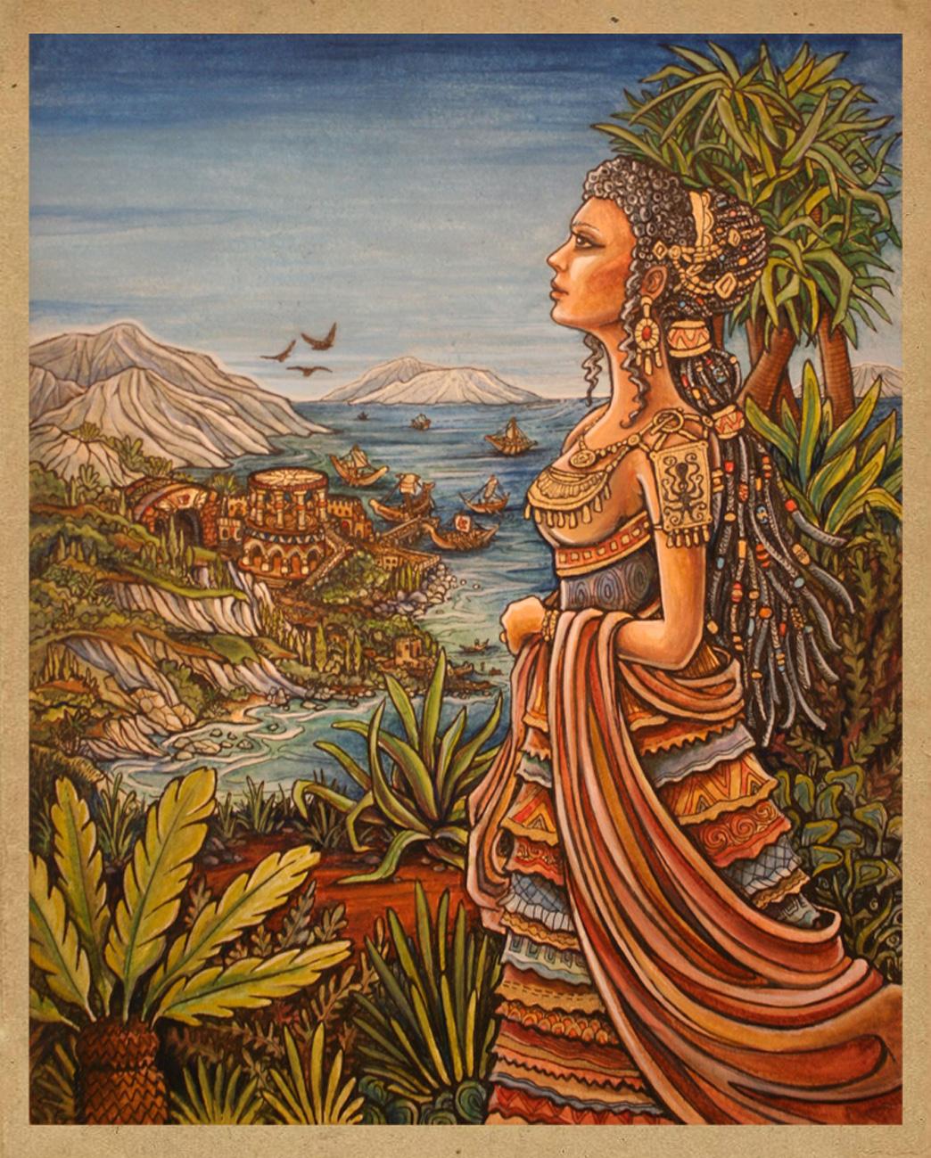 Minoan Woman historical fashion Illustration.