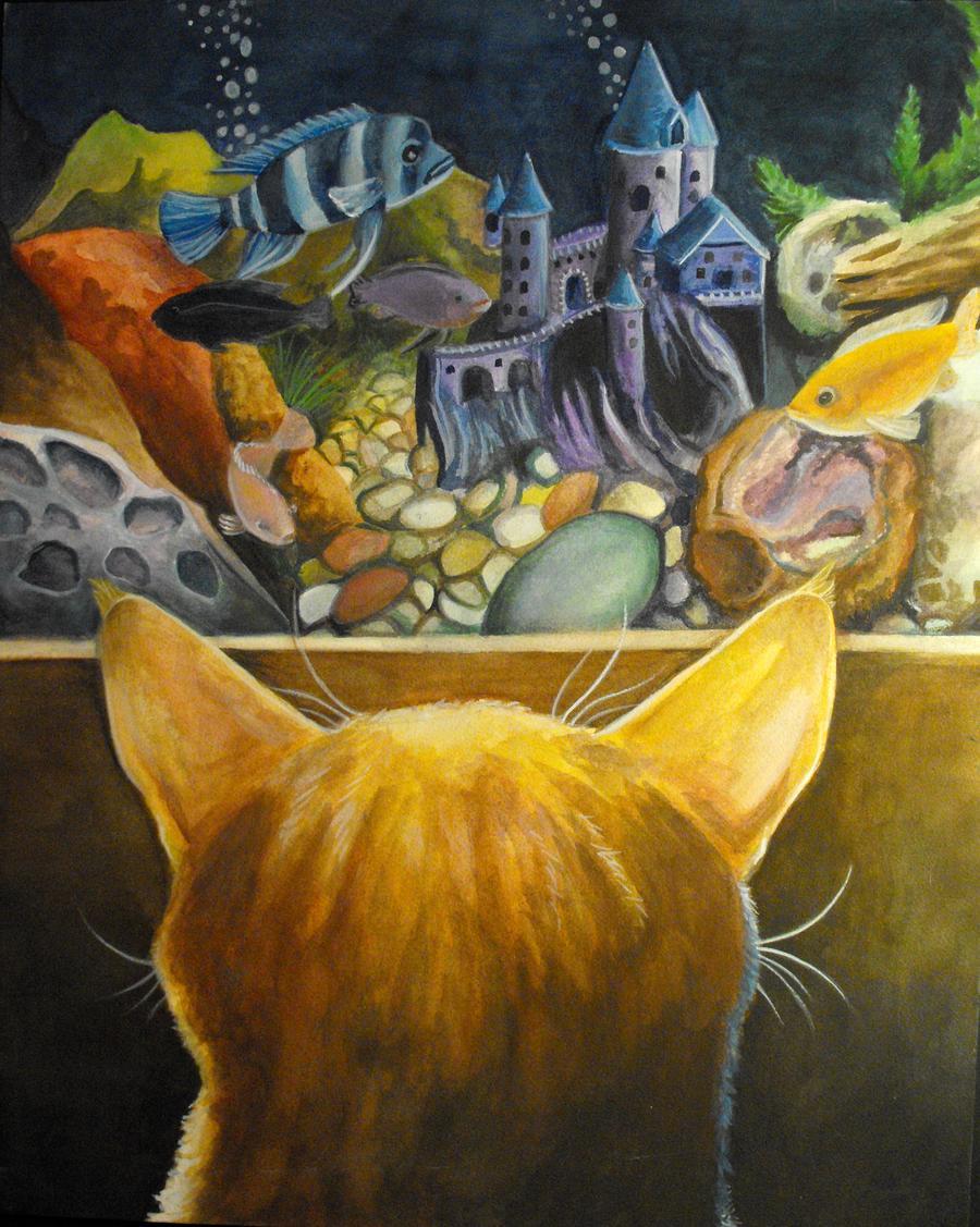 Pet portraits illustration. Orange cat looking at fish tank.