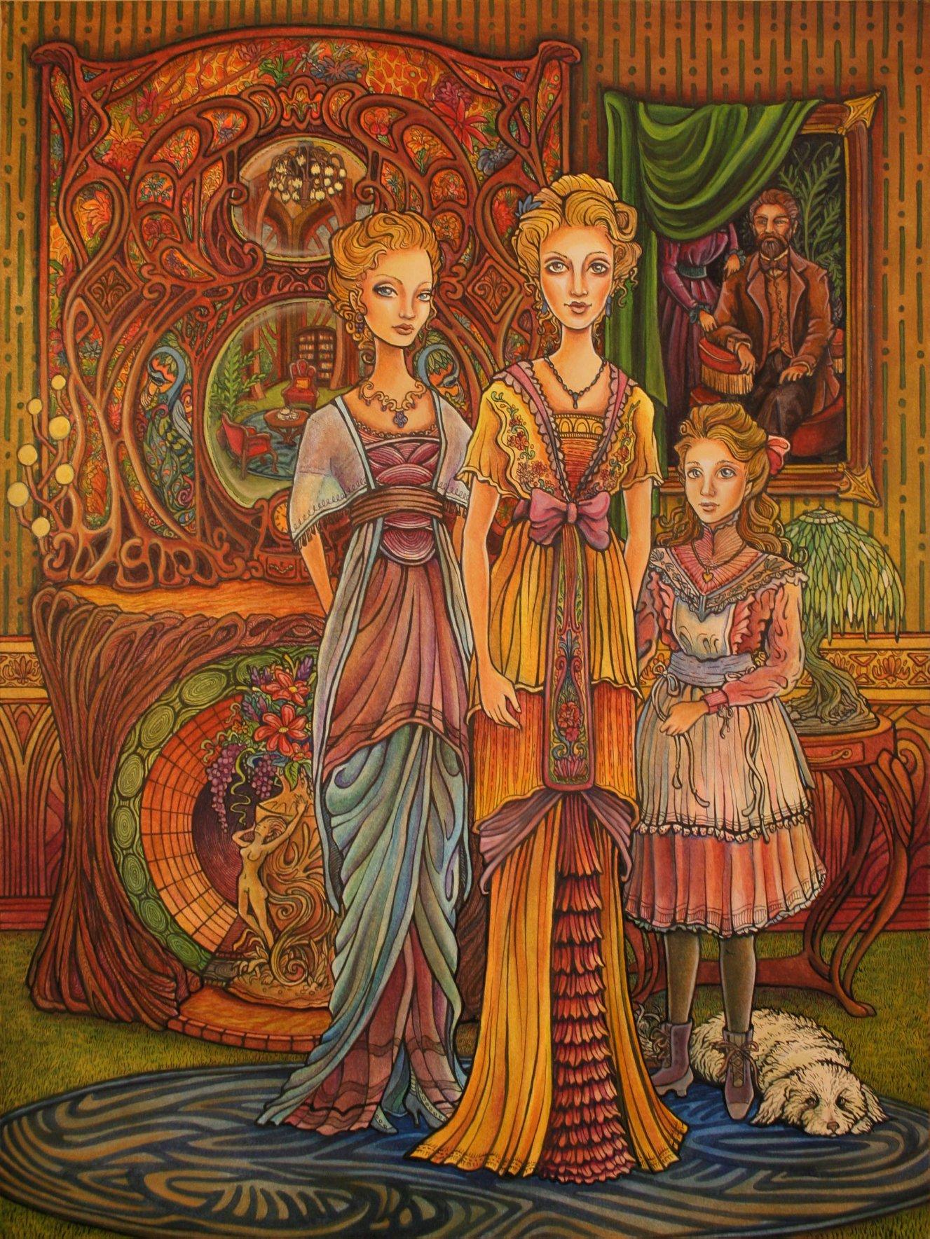 Edwardian Victorian family portrait. Childrens book historical fashion illustration.