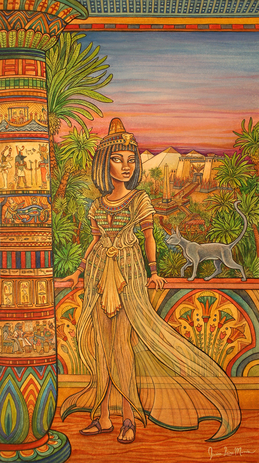 Ancient Egyptian Garden Priestess Illustration