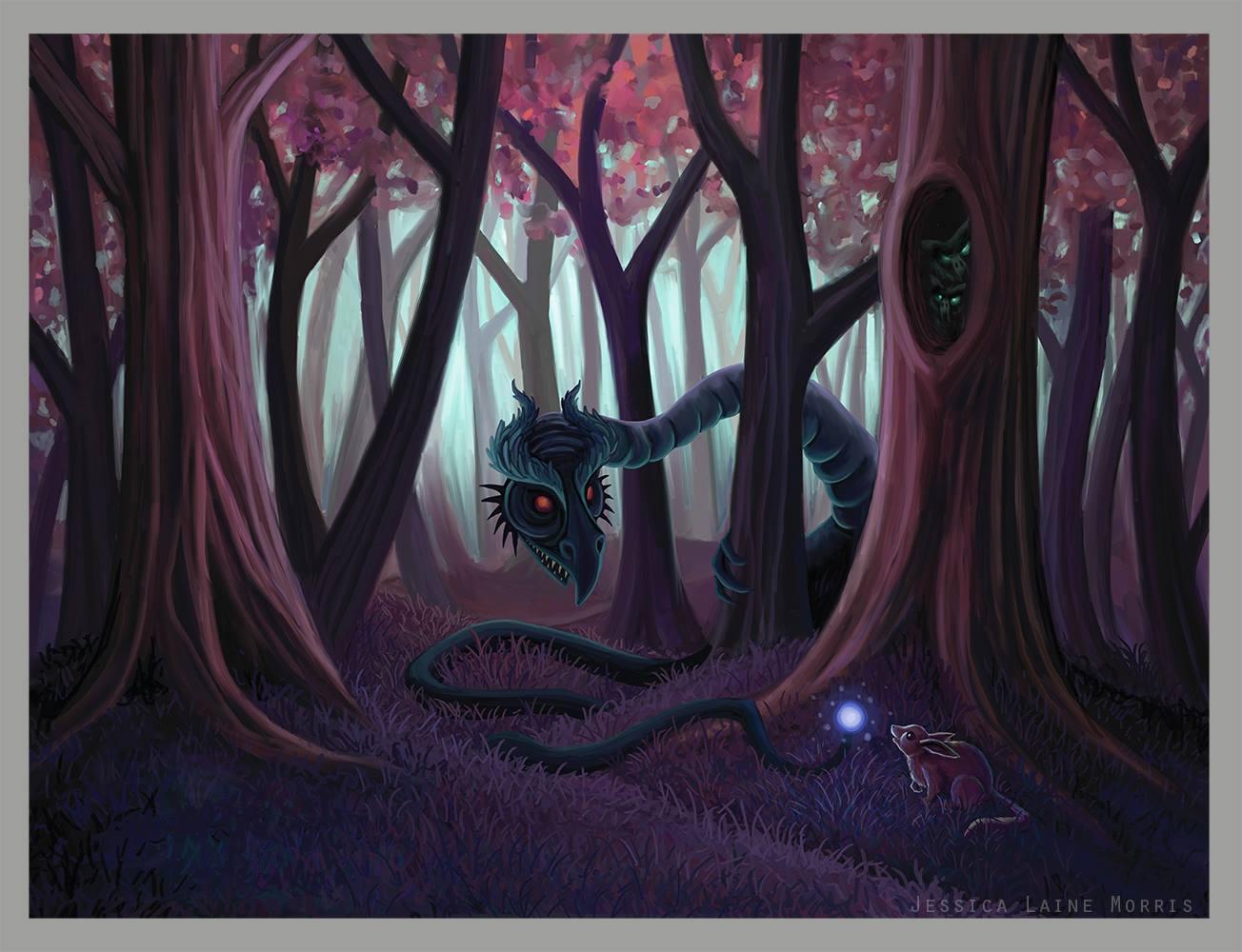 Jabberwocky Alice in Wonderland Dragon. Childrens book fantasy illustration.