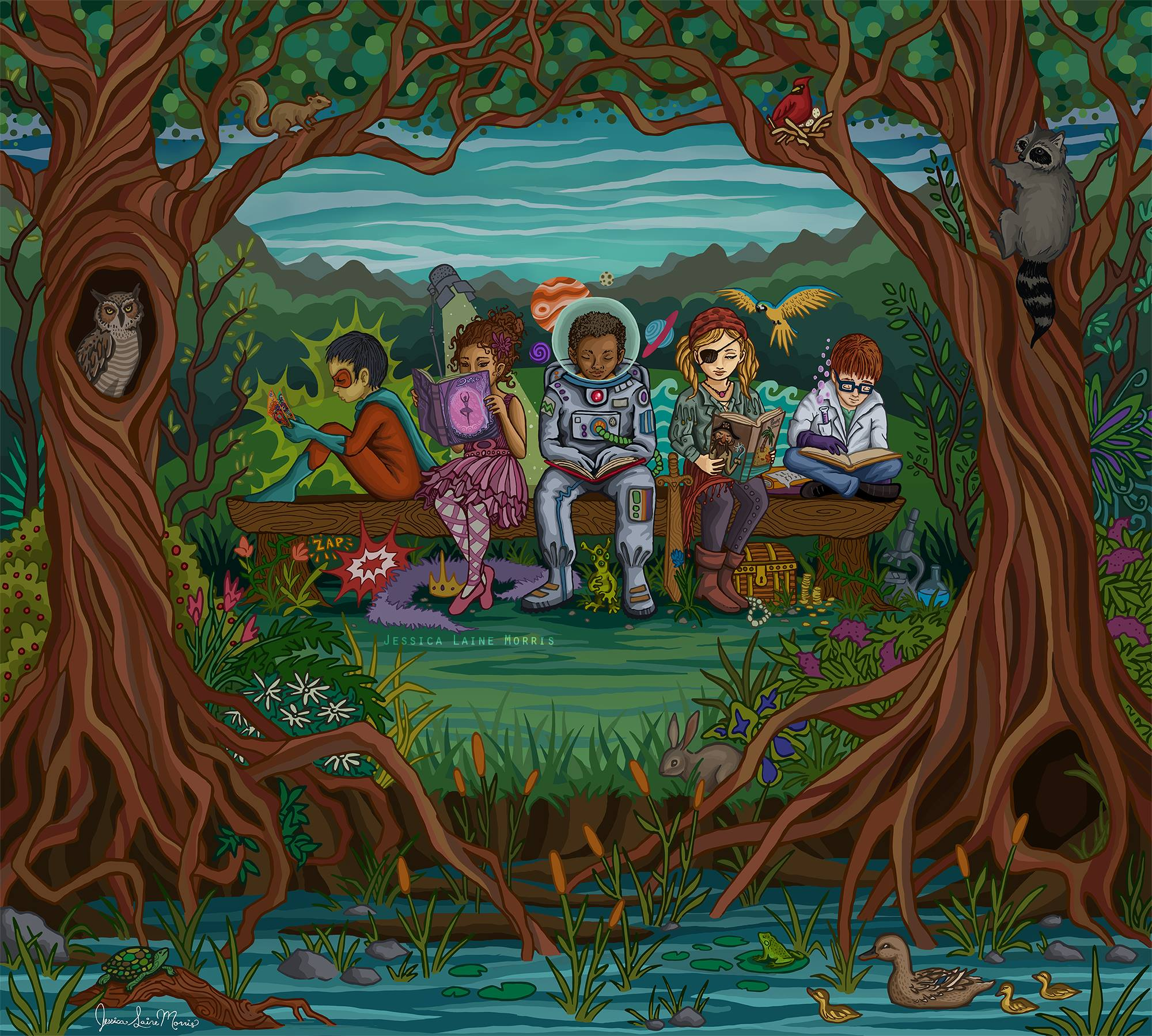 Power of reading and imagination. Brownsburg Public Library. Childrens book fantasy illustration.