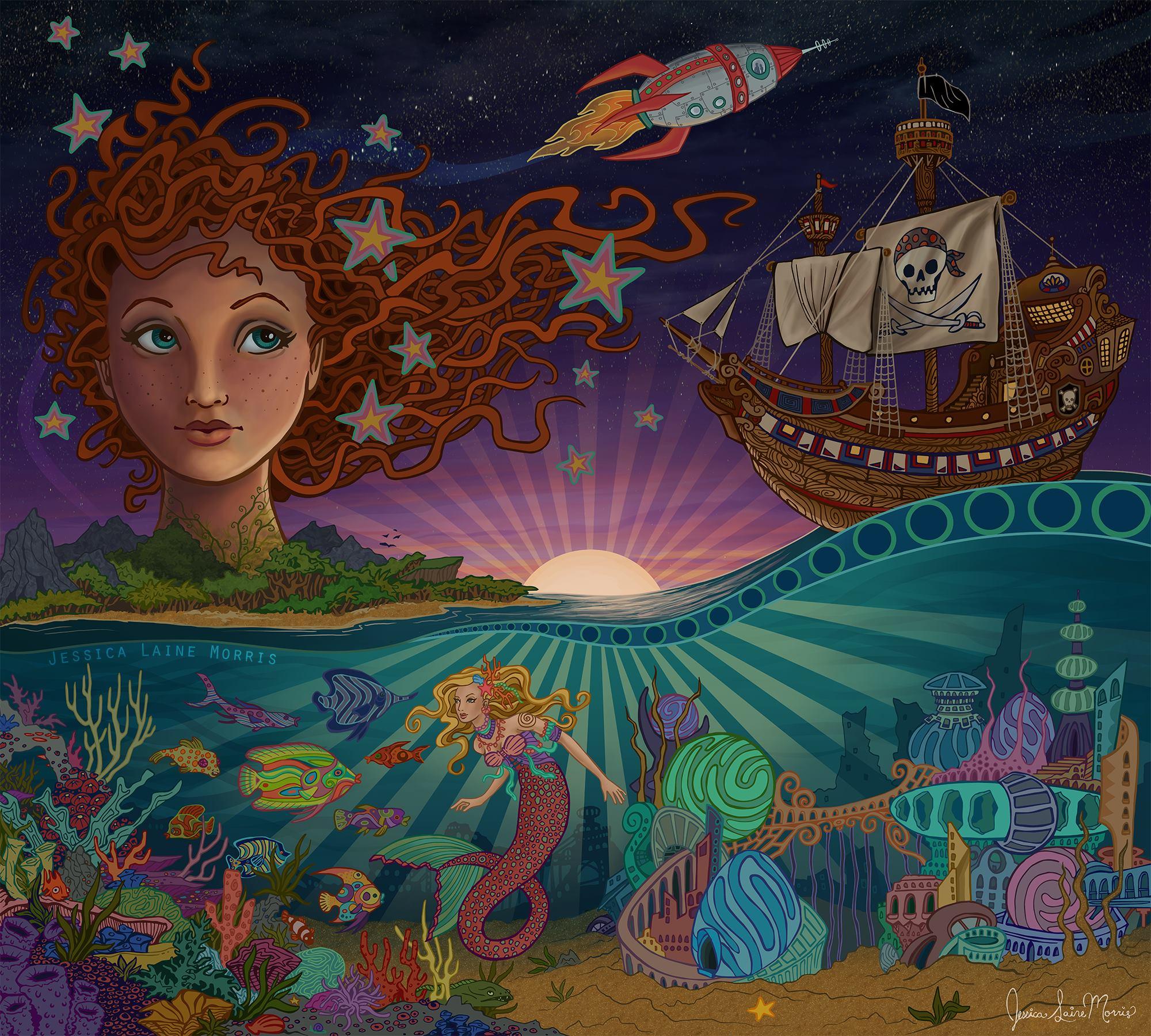 Mermaids and pirates Imagination mural. Brownsburg Public Library. Childrens book fantasy illustration.
