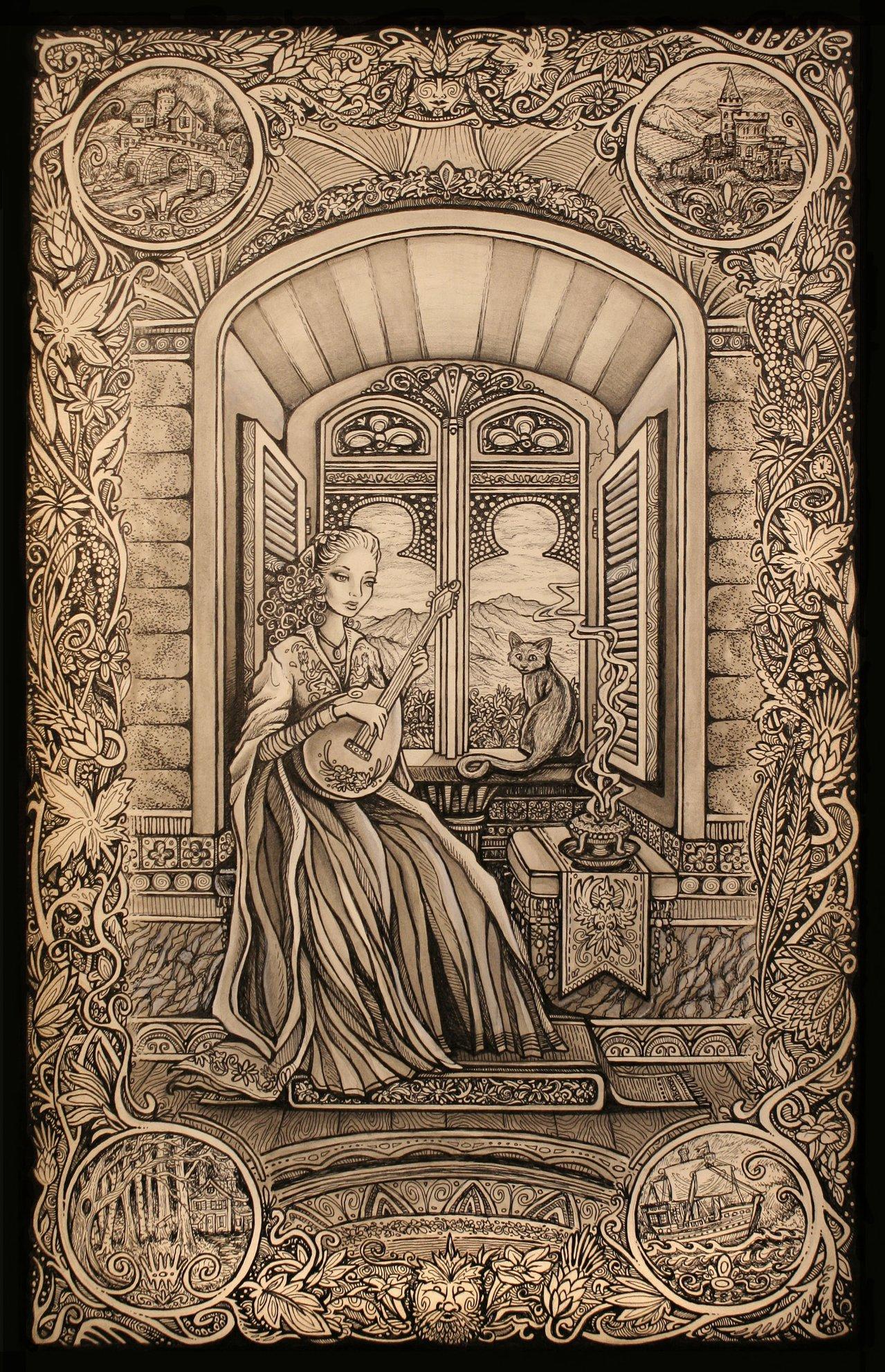 Medieval pen and ink. Children's book fantasy illustration