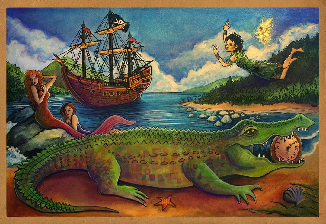 Peter Pan Book Cover Concept Art. Children's book fantasy illustration.