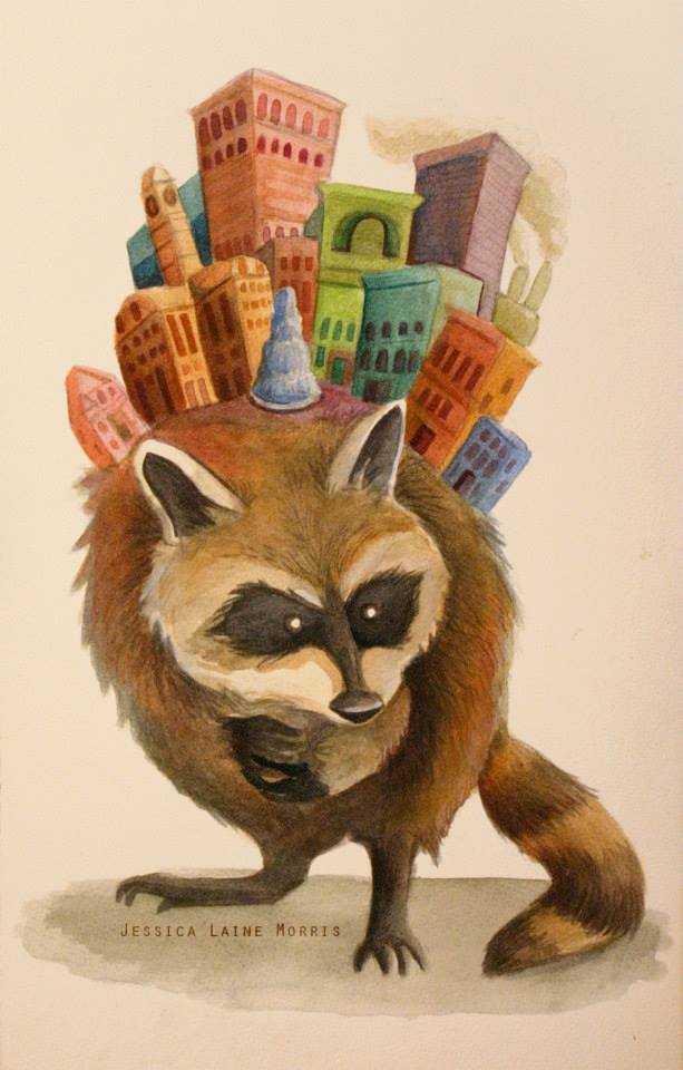 Editorial watercolor illustration of raccoon with city built on its back.
