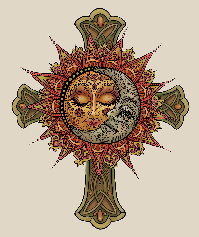 Wall Mural Sun Moon Celestial Mandala Celtic Cross.