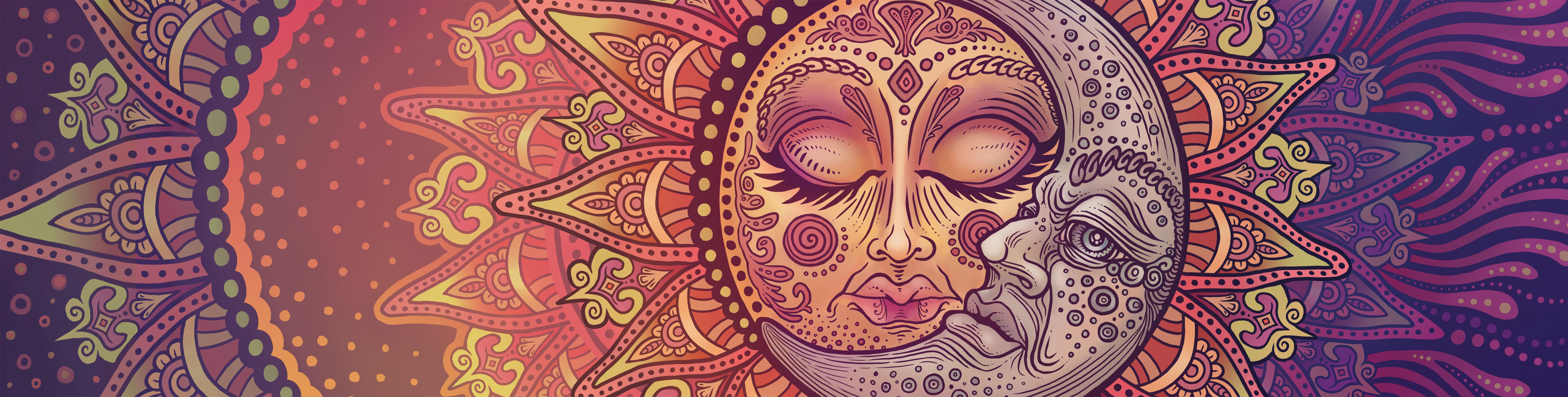 Wall Mural Sun Moon Celestial Mandala.