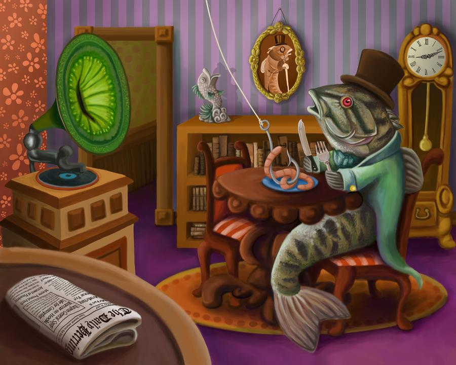 Editorial Illustration. Victorian Fish eating worm. Childrens book fantasy illustration.