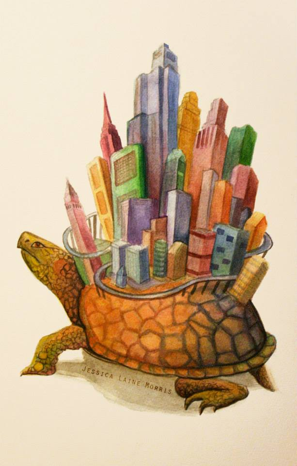 Editorial watercolor illustration of turtle with city built on its back.