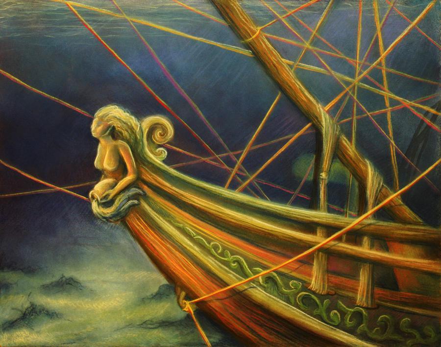Underwater sunken pirate ship. Childrens book fantasy illustration.