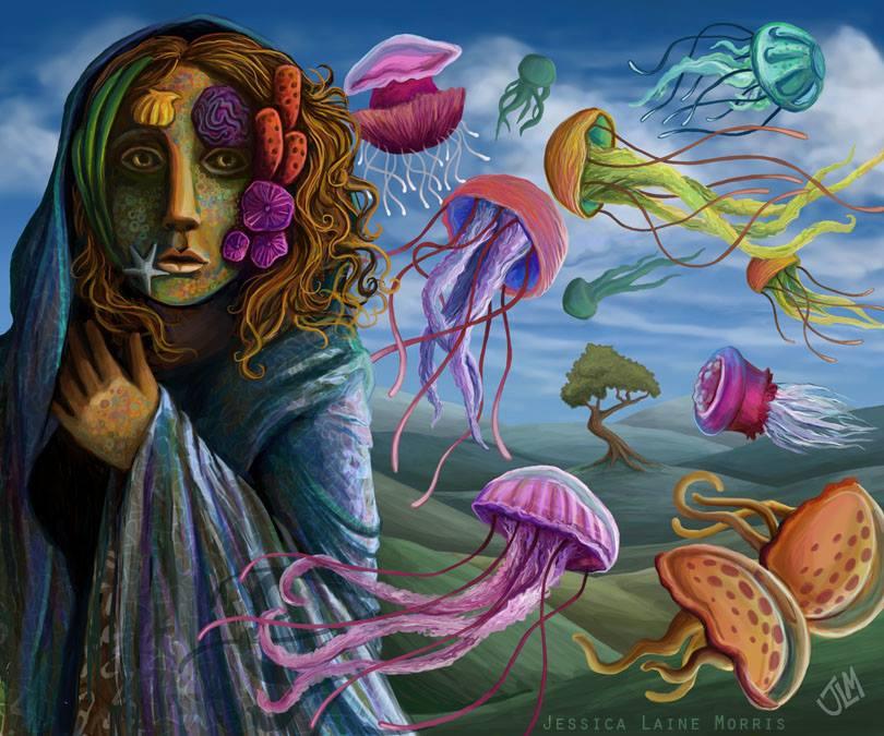Jellyfish flying coral reef mask. Childrens book fantasy illustration.