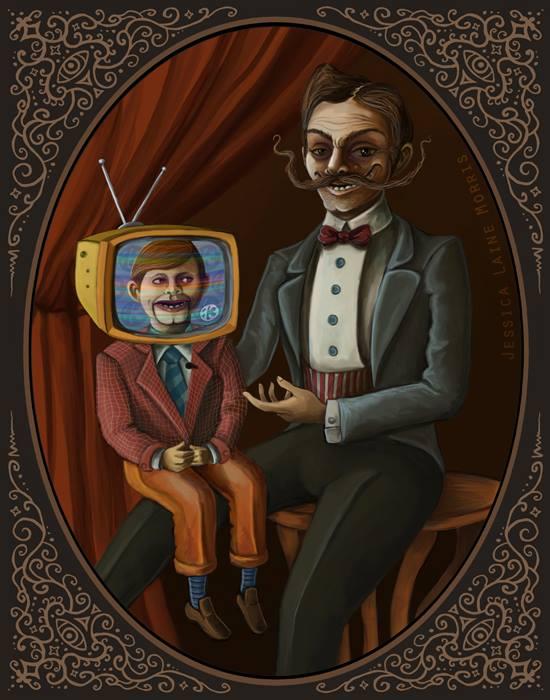 Editorial Illustration. Ventriloquist Puppet Vintage Tv Freak Show Side Show.