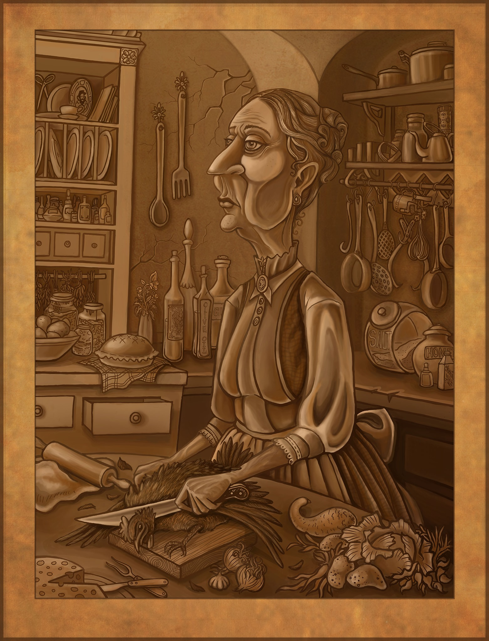 Victorian sepia tone woman maid cook in kitchen chopping chicken. Childrens book fantasy illustration