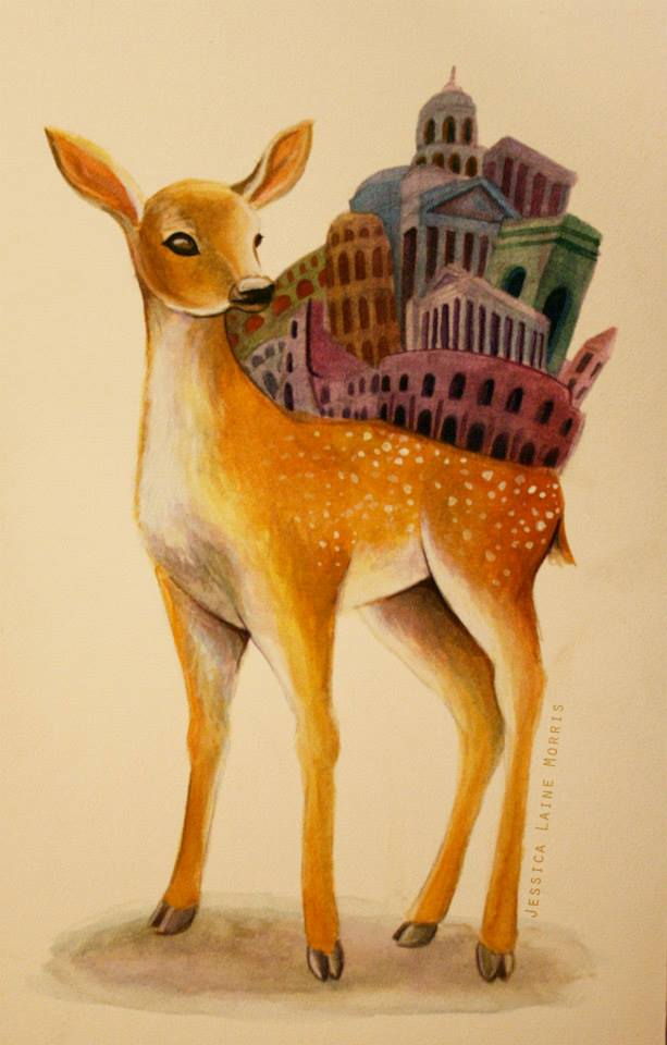 Editorial watercolor illustration of fawn deer with city built on its back.