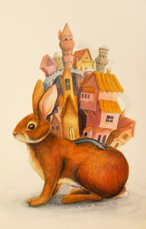 Editorial watercolor illustration of rabbit with city built on its back. Childrens book fantasy illustration.
