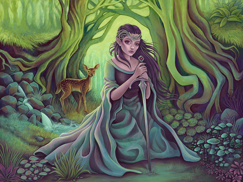 Woodland Elf Fantasy Storybook Illustration