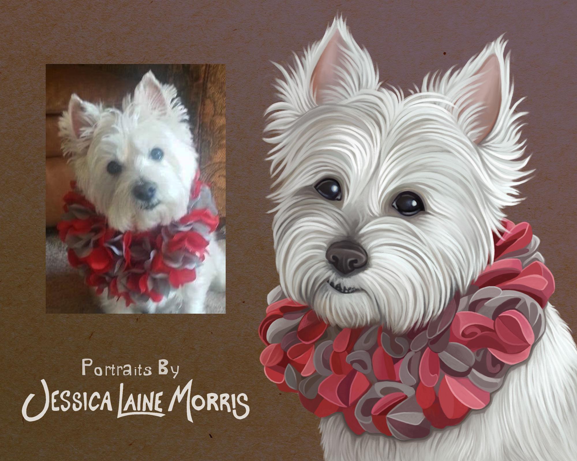 Westie Terrier Digital Pet Portrait Illustration Drawing