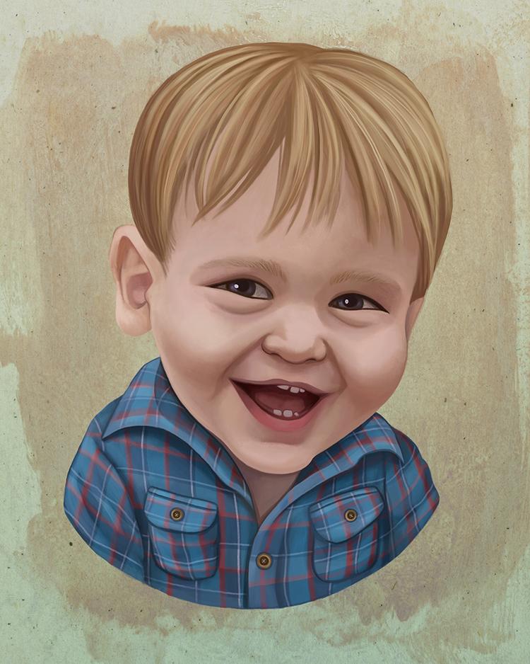 Child Digital Portrait Painting Illustration