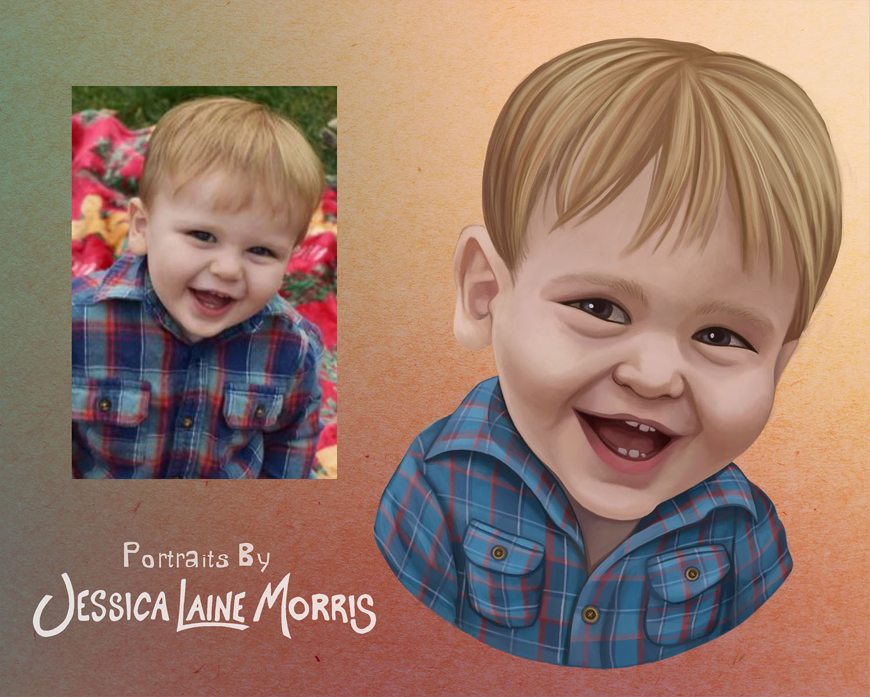 Digital Child Portrait Painting Illustration Drawing