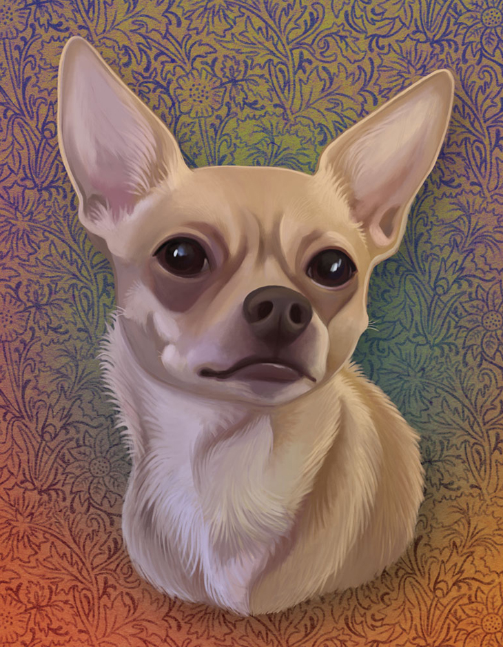 Chihuahua Digital Pet Portrait with Patterned Background