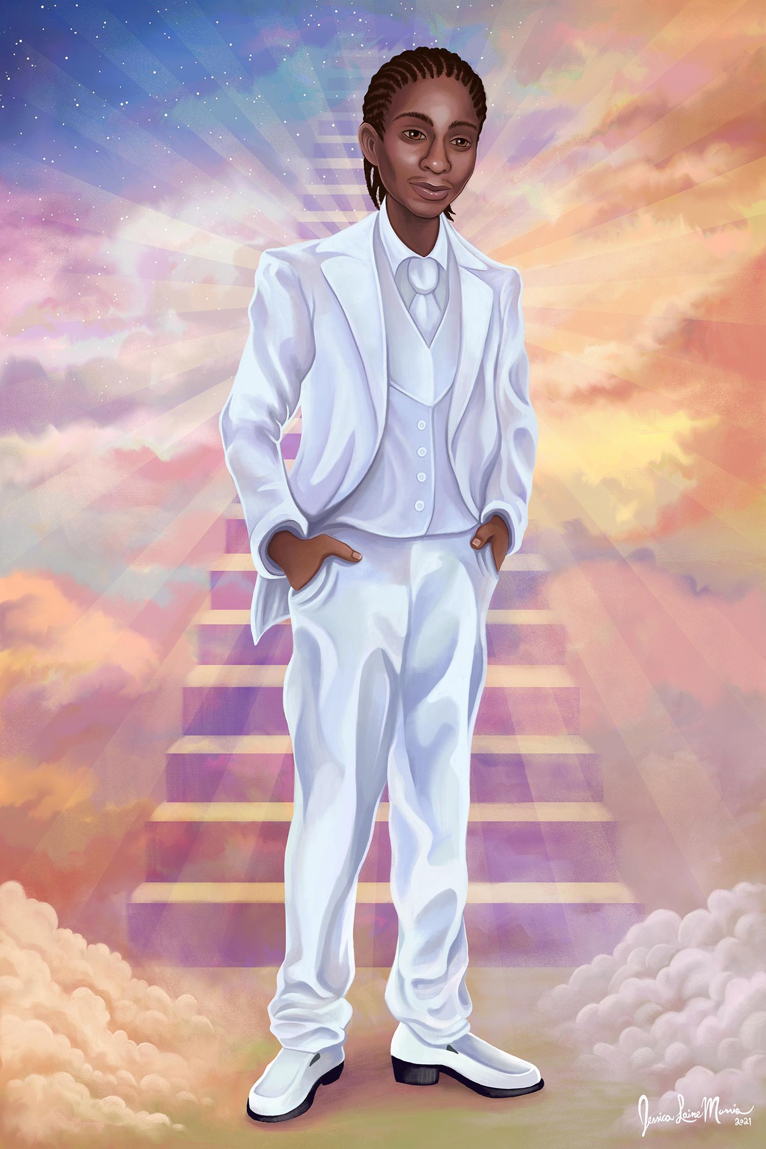 Full Body Memorial Gift Portrait Illustration