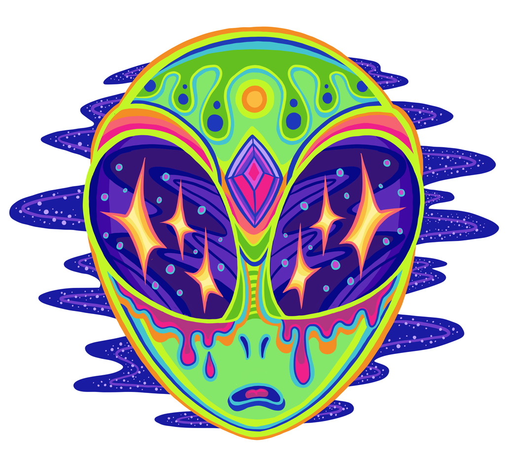 Colorful Trippy Alien Outer Space Head Cartoon Illustration Logo Graphic by Jessica Laine Morris