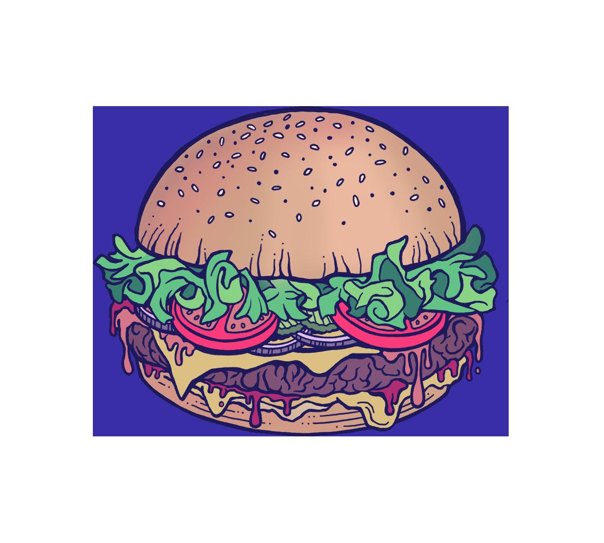 Hamburger Cheeseburger with Everything Cartoon Illustration Logo Graphic by Jessica Laine Morris