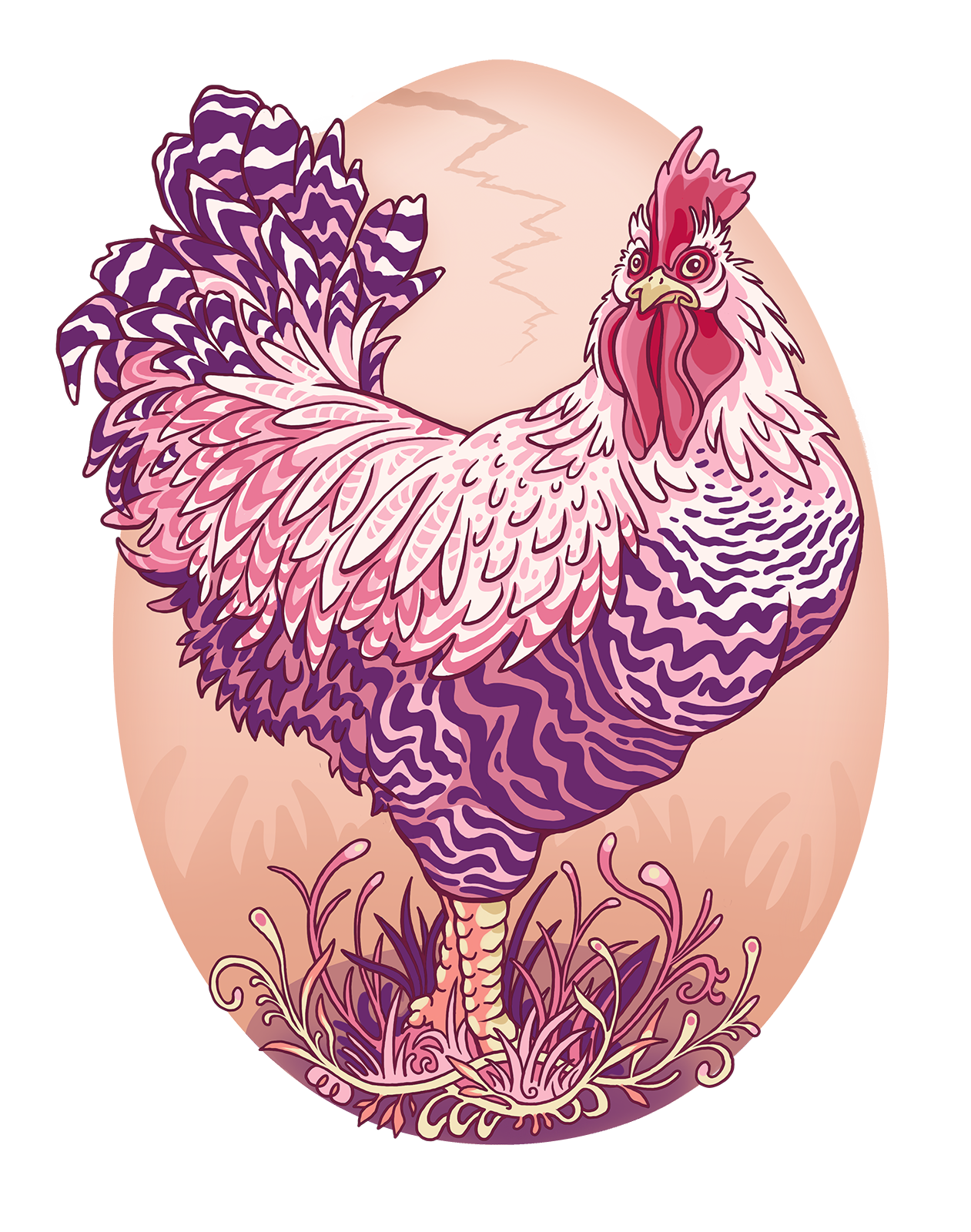 Bold Chicken Rooster Egg Bed and Breakfast Cartoon Illustration Logo Graphic by Jessica Laine Morris