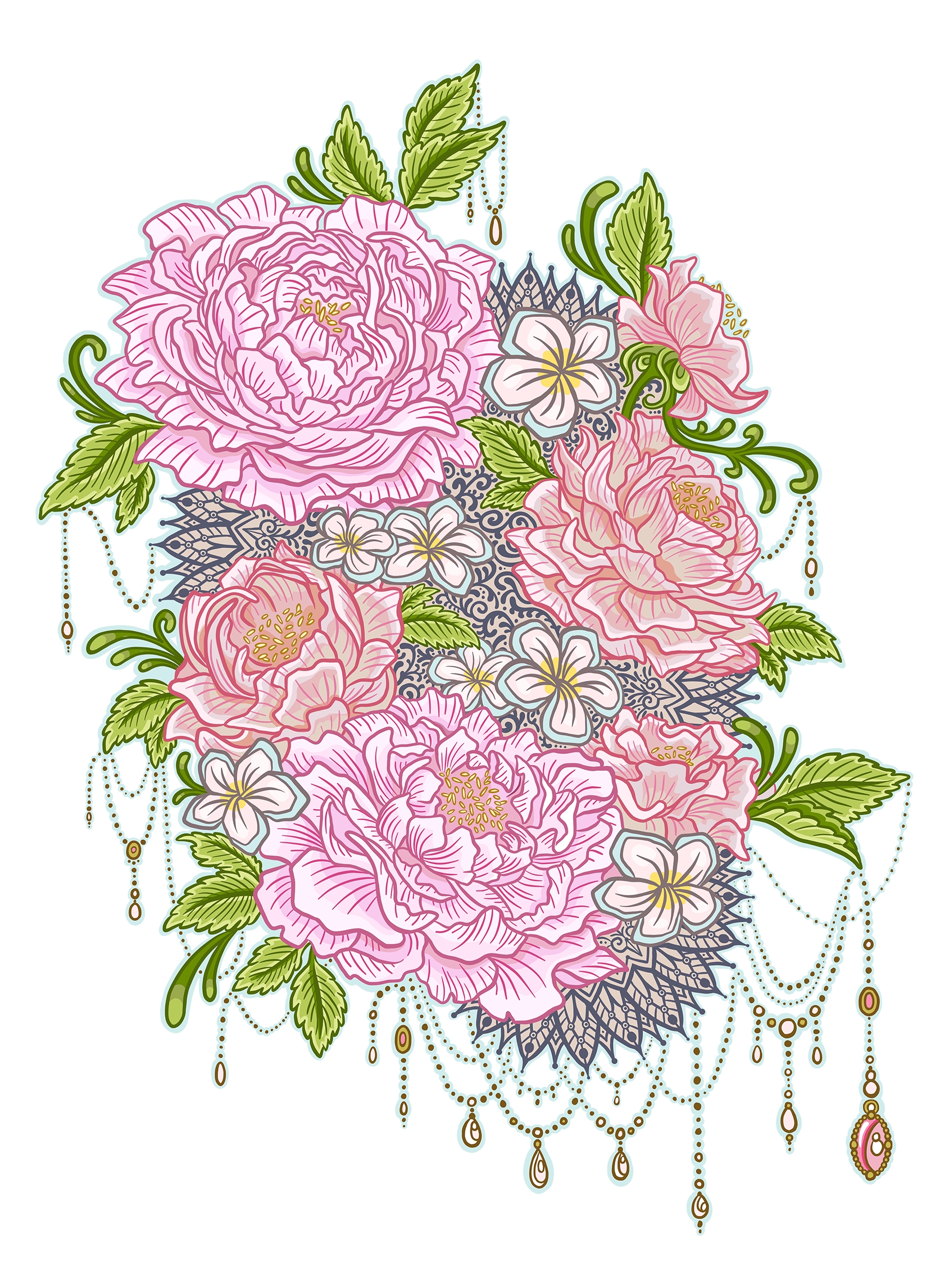 Bold Floral Pink Peony and jewels Girly Cartoon Illustration Logo Graphic by Jessica Laine Morris