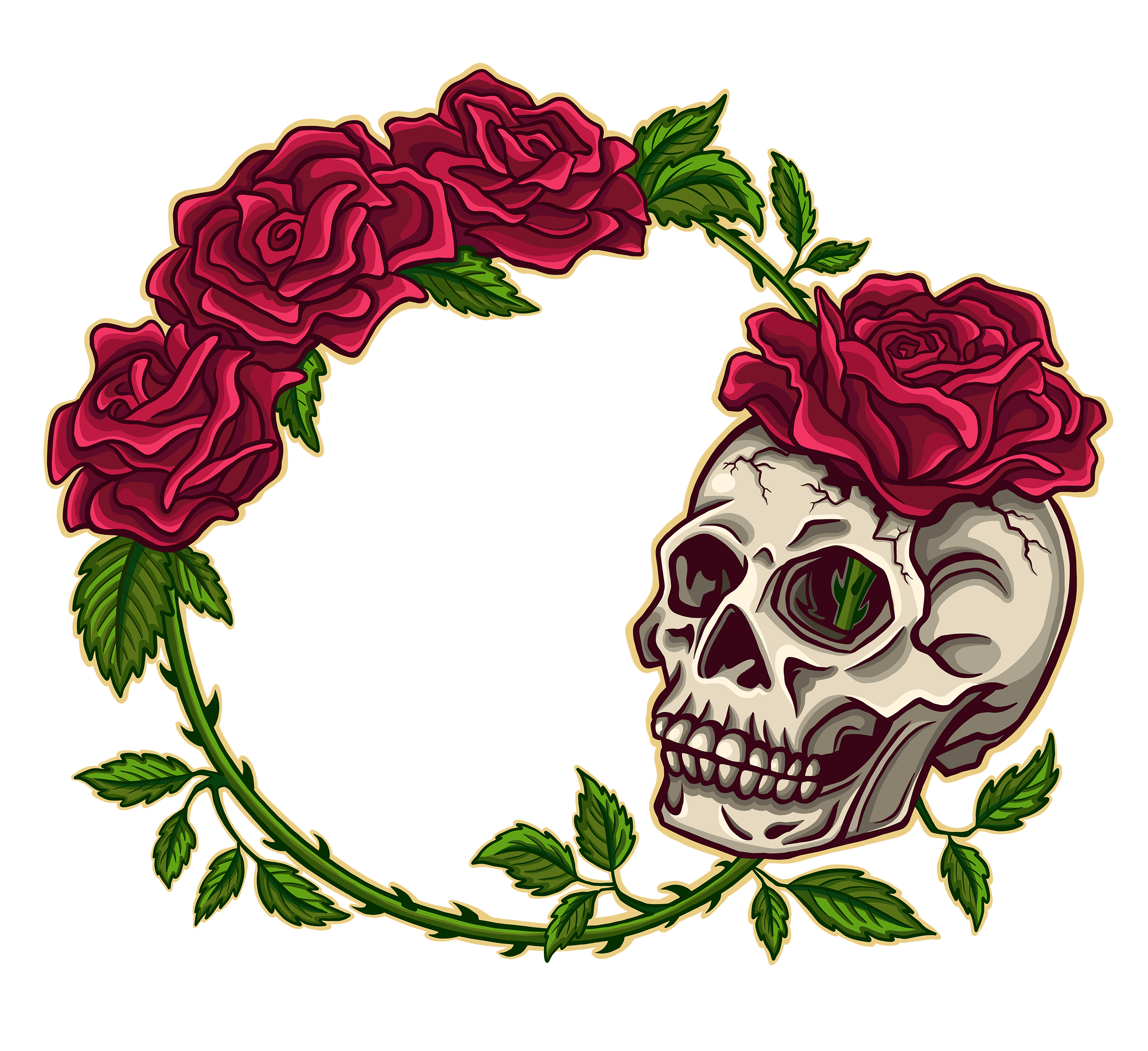Red Rose and Skull Cartoon Illustration Logo Graphic by Jessica Laine Morris