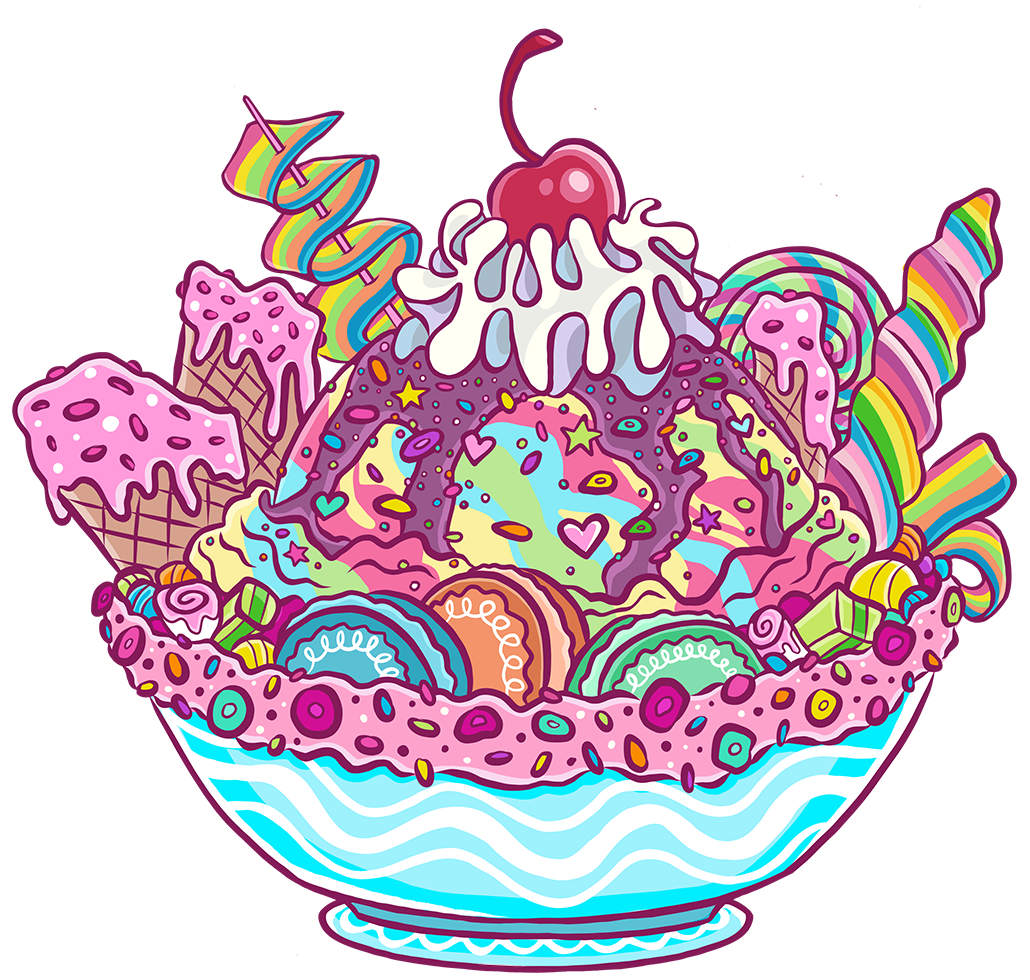 Colorful Candy Ice Cream Sweet Shop Cartoon Illustration Logo Graphic by Jessica Laine Morris