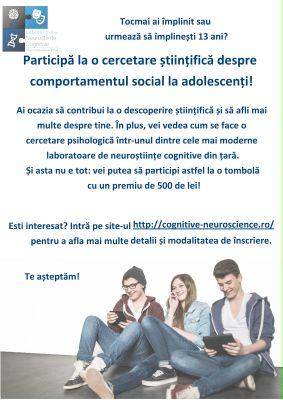 03/2016 O nouă cercetare despre comportamentul social la adolescenți