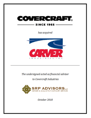 SRP Advisors, LLC Represents Covercraft Industries in the Acquisition of Carver Industries