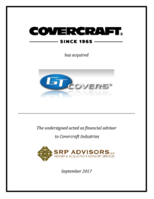SRP Advisors, LLC Represents Covercraft Industries, LLC in the Acquisition of GT Covers
