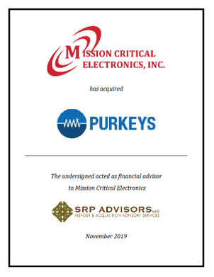 SRP Advisors, LLC Represents Mission Critical Electronics in the Acquisition of Purkeys Fleet Electric