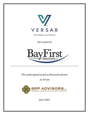 SRP Advisors Represents Versar in Acquisition of BayFirst Solutions