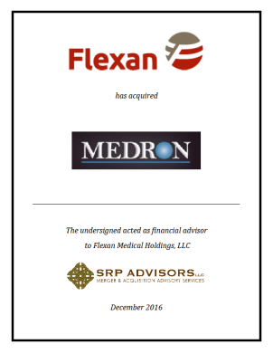 SRP Advisors, LLC Represents Flexan in Acquisition of MEDRON