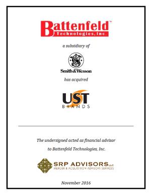 SRP Advisors, LLC Represents Battenfeld Technologies in Acquisition of UST Brands