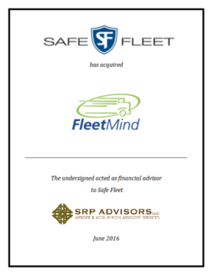 SRP Advisors, LLC Represents Safe Fleet in Acquisition of FleetMind Solutions, Inc