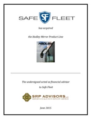SRP Advisors, LLC Represents Safe Fleet in Acquisition of Hadley Mirrors