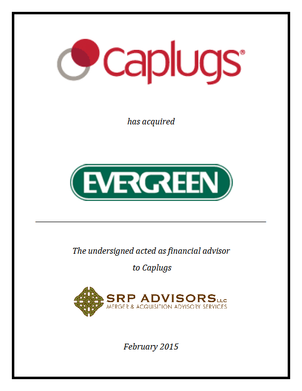 SRP Advisors, LLC Represents Protective Industries, Inc. (d/b/a Caplugs) in Acquisition of Evergreen Scientific, Inc.