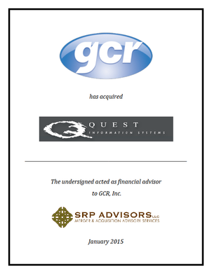 SRP Advisors, LLC Represents GCR Inc. in Acquisition of Quest Information Systems