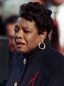 """Maya Angelou reciting her poem """"On the Pulse of Morning"""" at US President Bill Clinton's inauguration, January 20, 1993"""