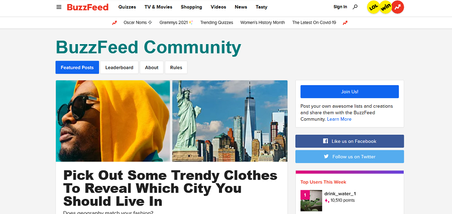 Advertise your website on Buzzfeed Community
