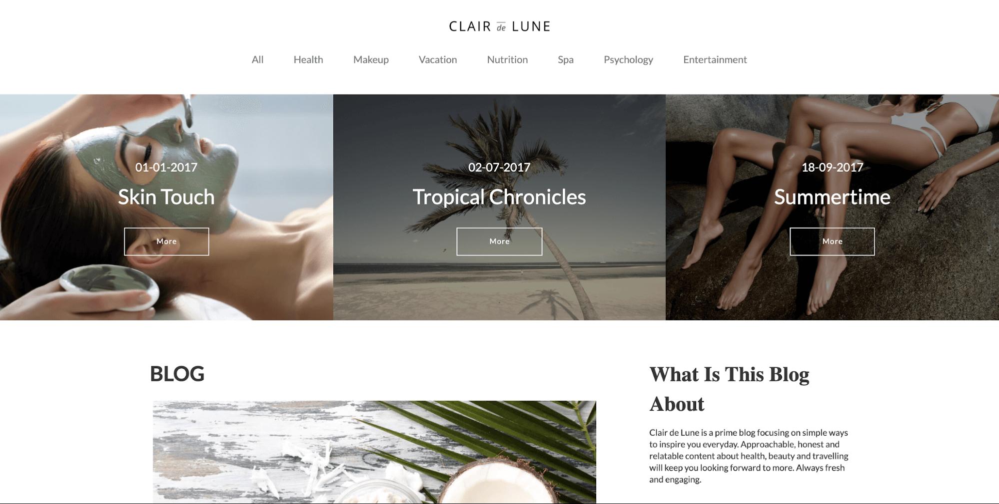 Clair de Lune-online blog template-ucraft